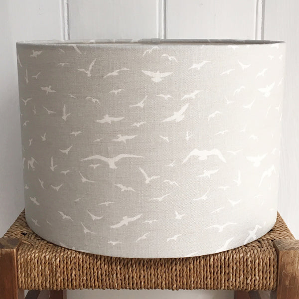 Seagulls Gustavian Grey Linen Lampshade - Lolly & Boo - 1