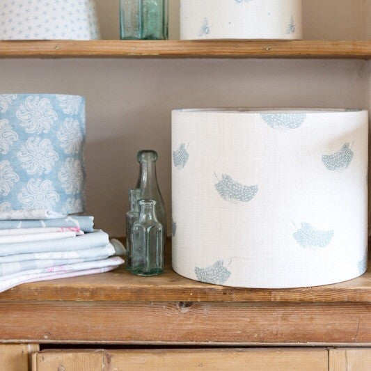 Falling Feathers (duck egg) Linen Lampshade - Lolly & Boo - 1
