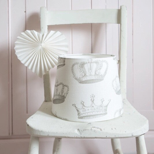 Crowns (Chalk Grey) Linen Lampshade - Lolly & Boo - 1