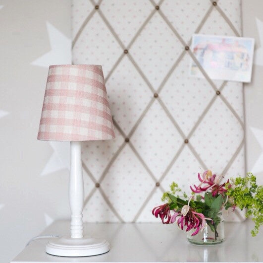 Pink Small Check Linen Lampshade - Lolly & Boo - 1