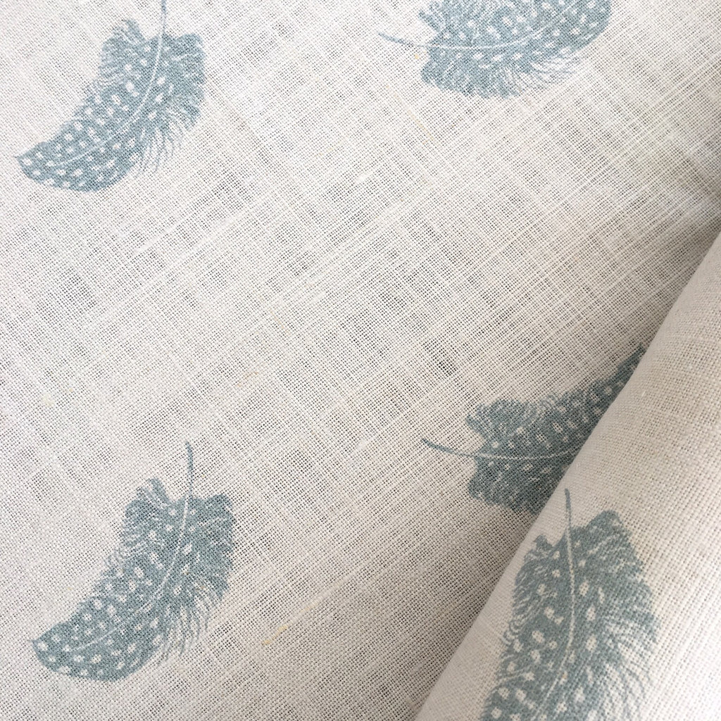 Peony & Sage Falling Feather (duck egg) Linen - Offcut - Lolly & Boo - 1