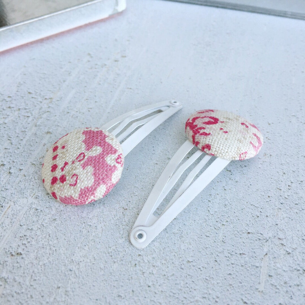 Peony & Sage Paisley Linen Button Hair Slide - Lolly & Boo
