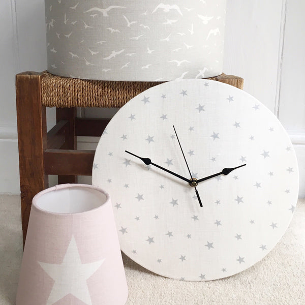 Linen Clock in Peony & Sage Rain All Stars (small) - Lolly & Boo