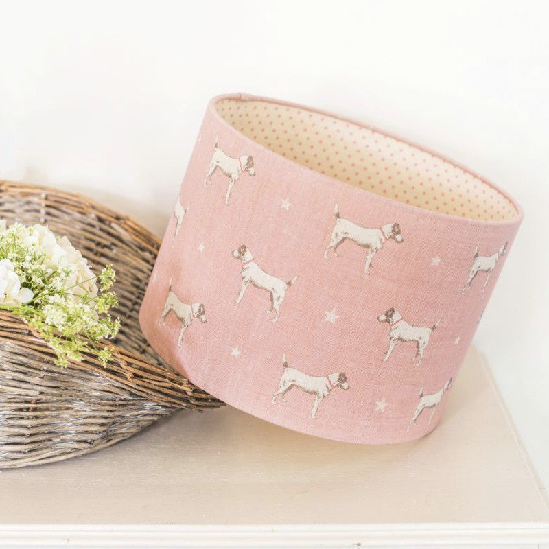 Jack All Star Linen Lampshade With Blush Pink Dots Lining - Lolly & Boo - 1