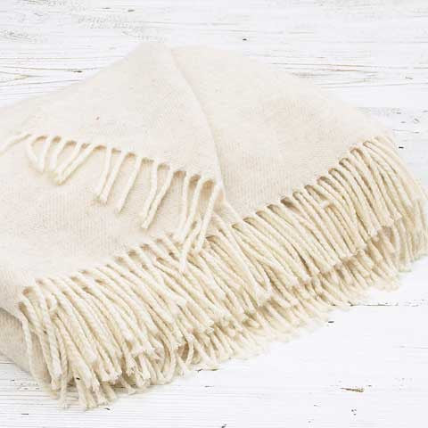 Luxury Merino Throw - Lime White