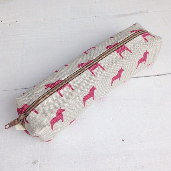 Swedish Horses Linen Pencil Case - cherry - Lolly & Boo