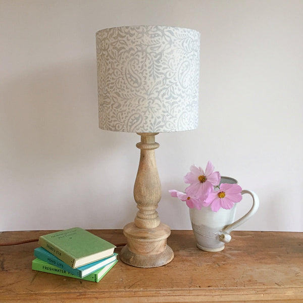 India Linen Drum Lampshade - 'fog' on cream linen - Lolly & Boo - 1