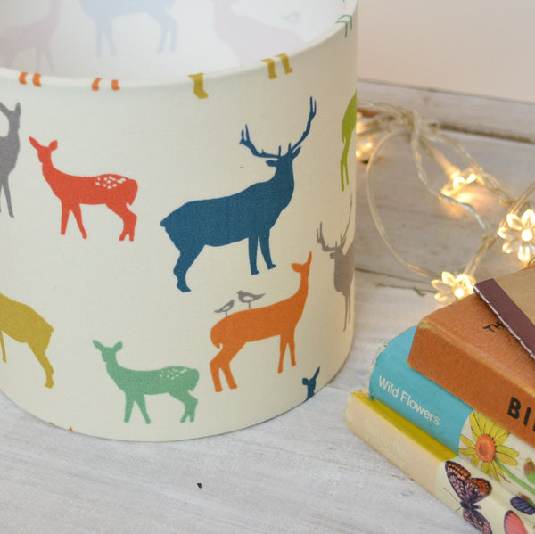 Elk Family (multi colour) Drum Lampshade - Lolly & Boo - 1