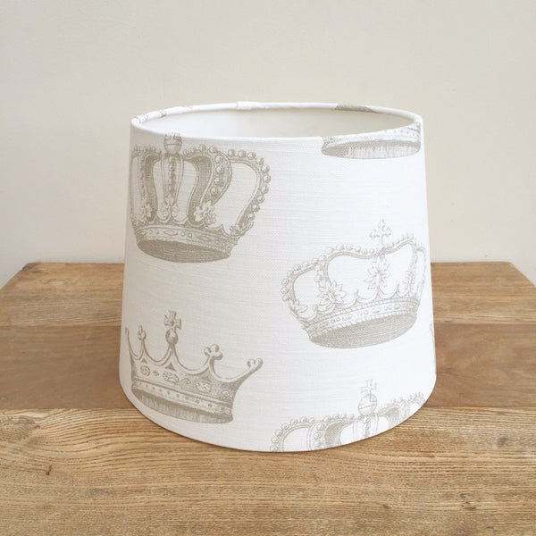 Large Crowns (Chalk Grey) Linen Lampshade - Lolly & Boo - 1