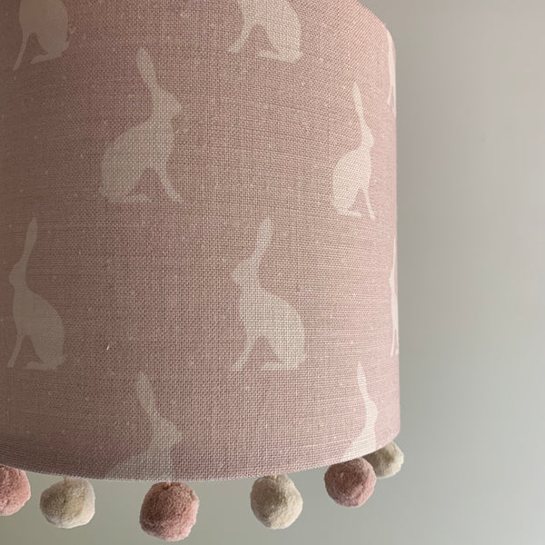 Faded Heather Mini Hares Pom Pom Lampshade