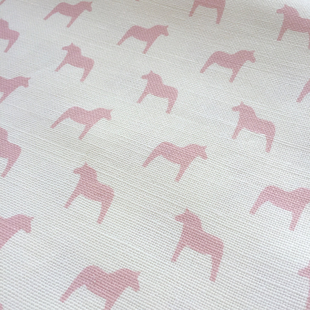 Olive & Daisy Rose Pink Swedish Horses Linen - Offcut (Fat 8th Size) - Lolly & Boo - 2