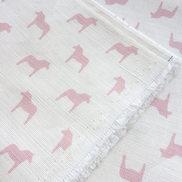 Olive & Daisy Rose Pink Swedish Horses Linen - Offcut (Fat 8th Size) - Lolly & Boo - 1