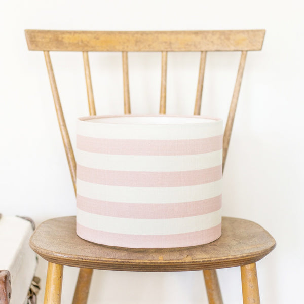 Pink Icing Summer Stripe Linen Drum Lampshade - Lolly & Boo - 1