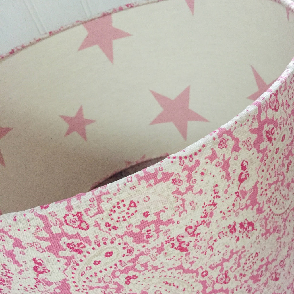 Pink Vintage Paisley Linen Lampshade With Stars Lining - Lolly & Boo - 1
