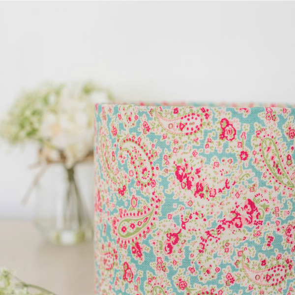 Egg Box Blue Vintage Paisley Linen Drum Lampshade - Lolly & Boo - 1