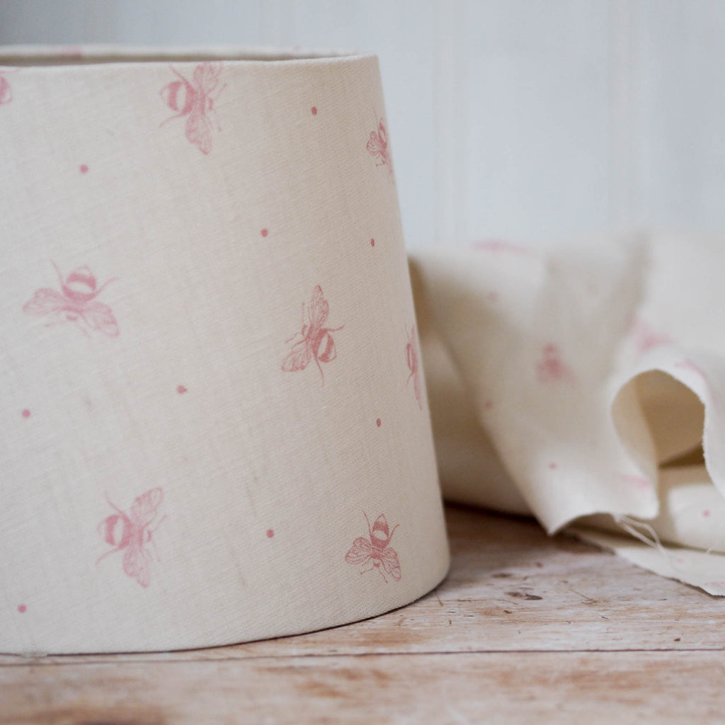 Blush Pink Busy Bees Linen Lampshade