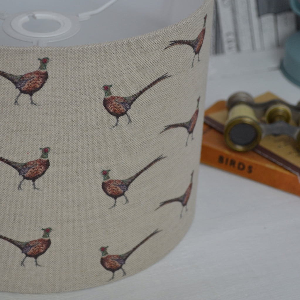Pheasant Linen Drum Lampshade - Lolly & Boo - 1