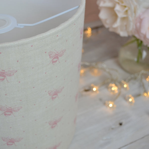 Blush Pink Just Bees Linen Drum Lampshade - Lolly & Boo - 1