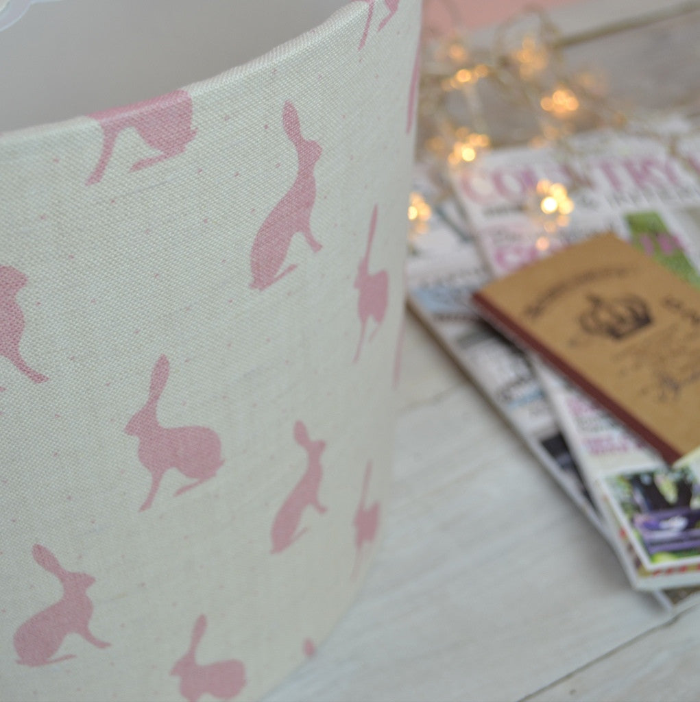 Blush Pink Hares Linen Drum Lampshade - Lolly & Boo