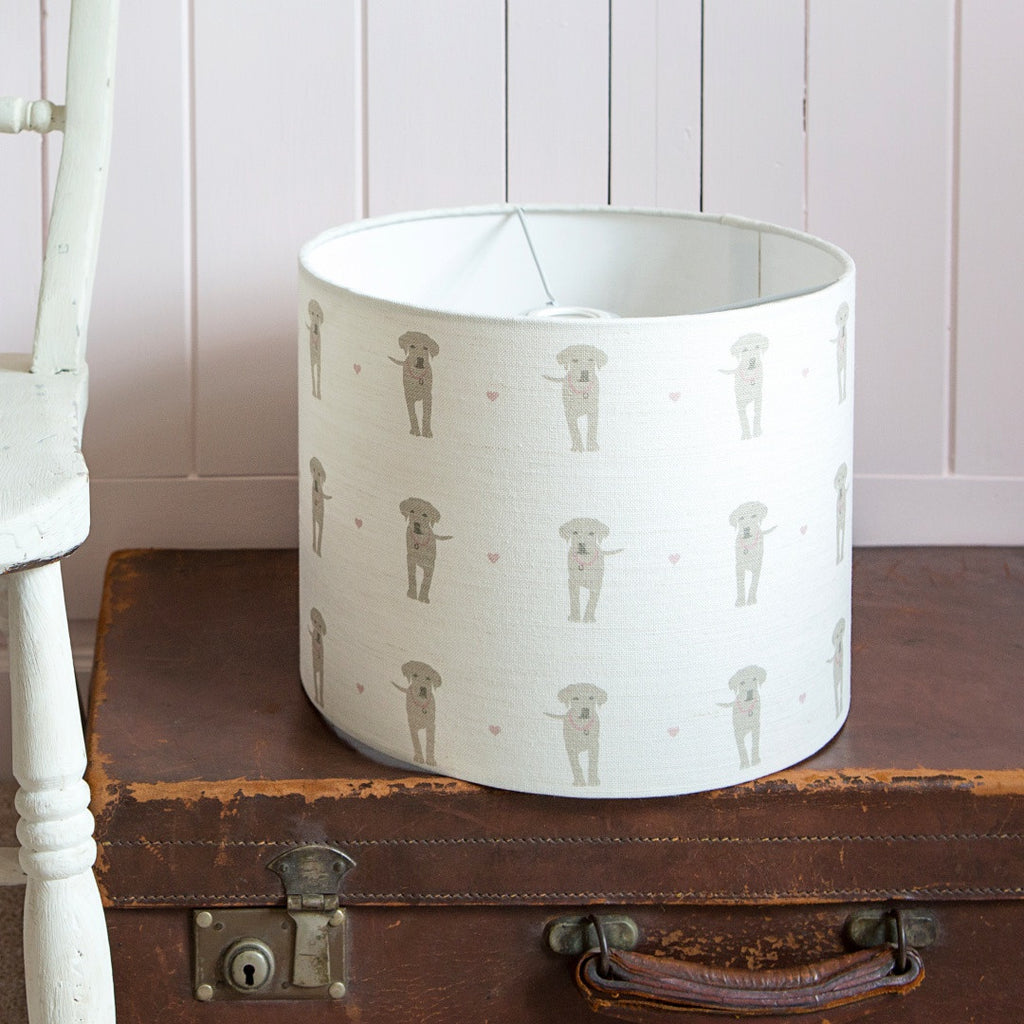 Puppy Love Linen Drum Lampshade - Lolly & Boo - 1