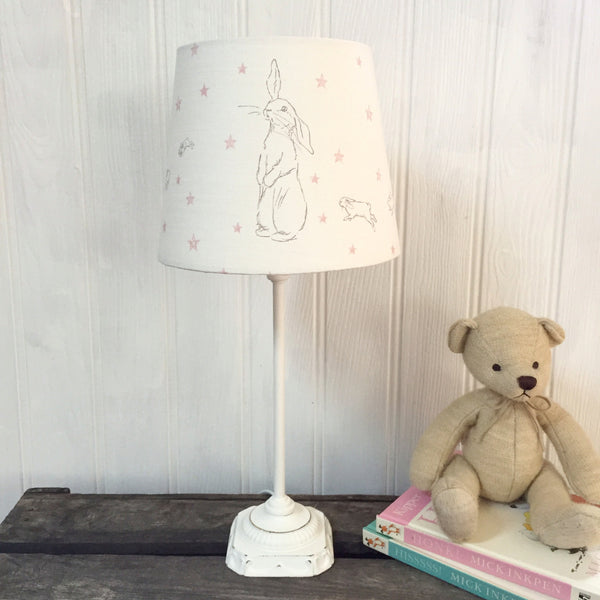 Rabbit All Star Linen Lampshade - pink or blue stars - Lolly & Boo - 1