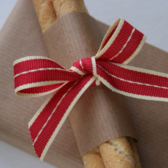 Vintage Red Stitched Ribbon - Lolly & Boo