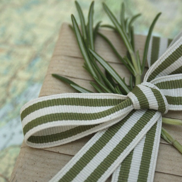 Sage & Cream Striped Ribbon - Lolly & Boo - 1