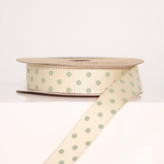 Cream & Sage Spotty Ribbon - Lolly & Boo