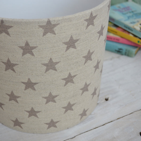 French Grey Stars Linen Drum Lampshade - Lolly & Boo - 1