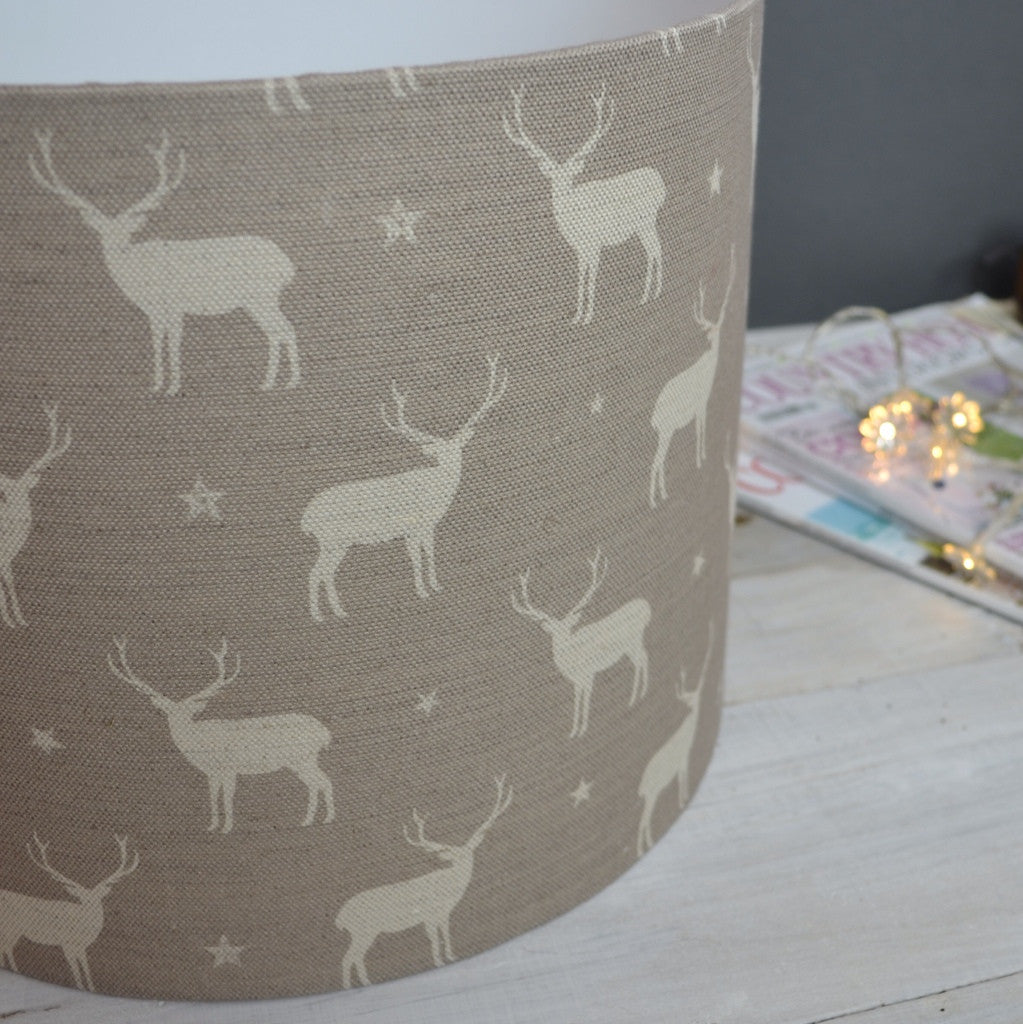 Truffle Stag All Star Linen Drum Lampshade - Lolly & Boo - 1