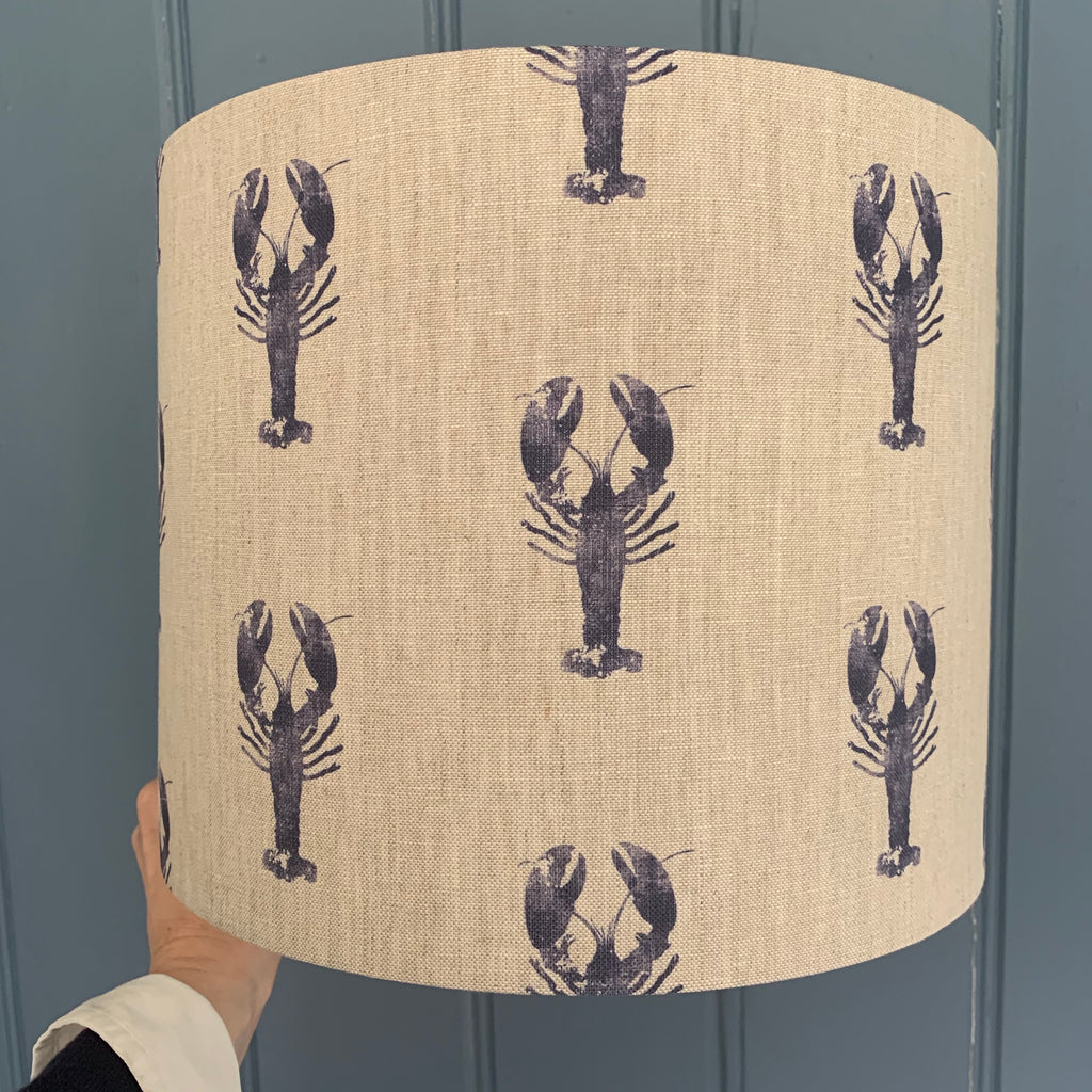 Lobster Pot Linen Drum Lampshade