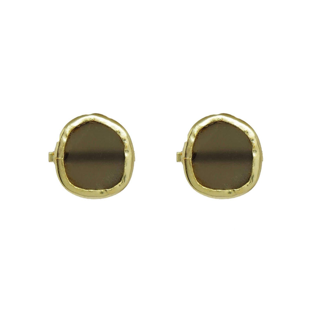Classic Circle Earrings in Smoky Quartz | Handcrafted Jewellery | Dori