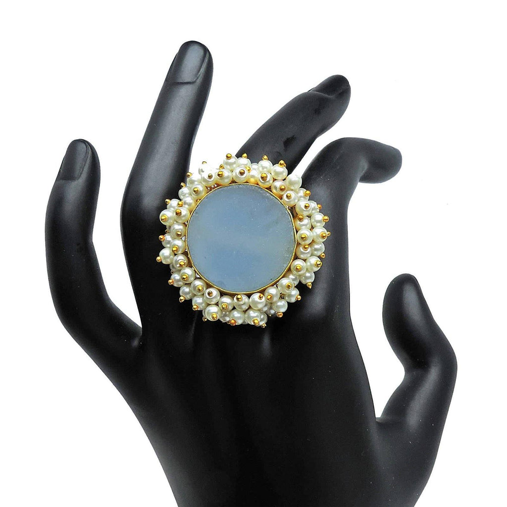 Sphere Ring in Blue Onyx | Handcrafted Jewellery | Dori