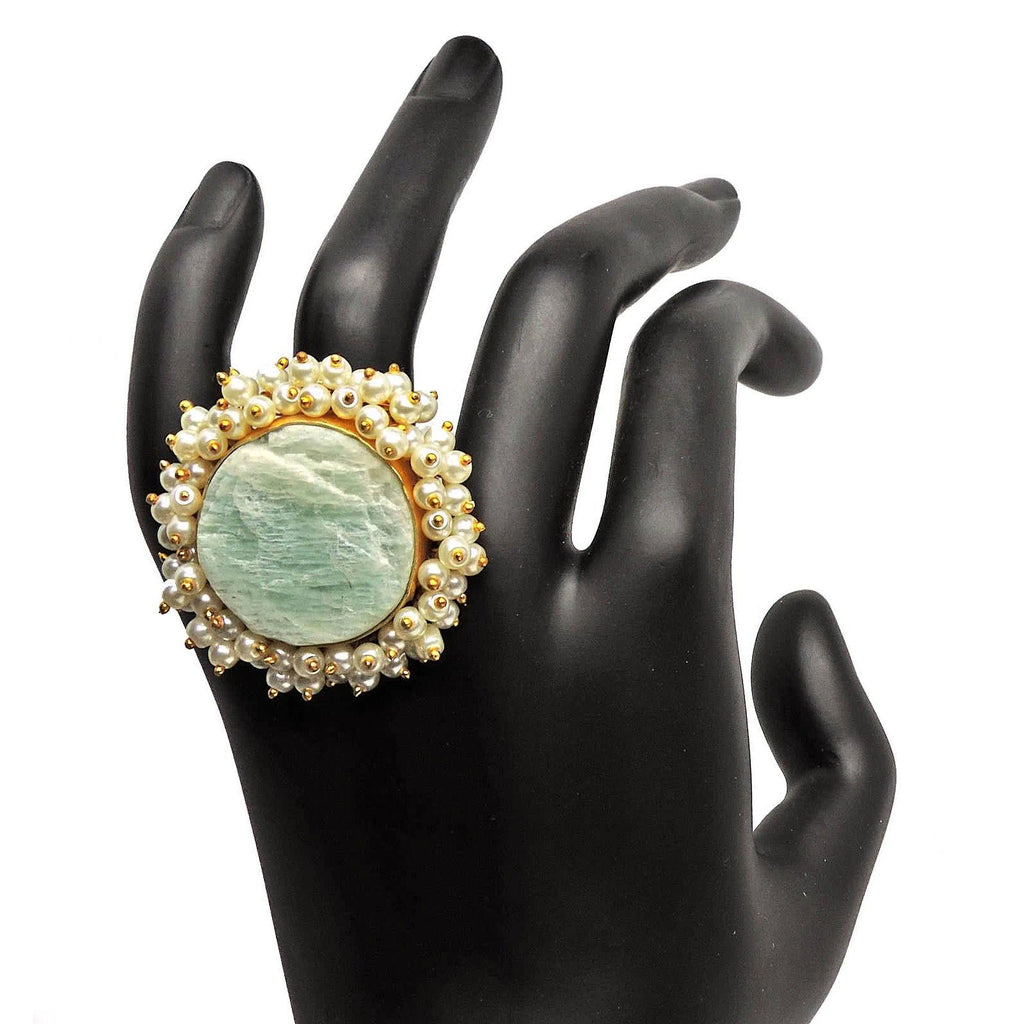 Sphere Ring in Amazonite | Handcrafted Jewellery | Dori