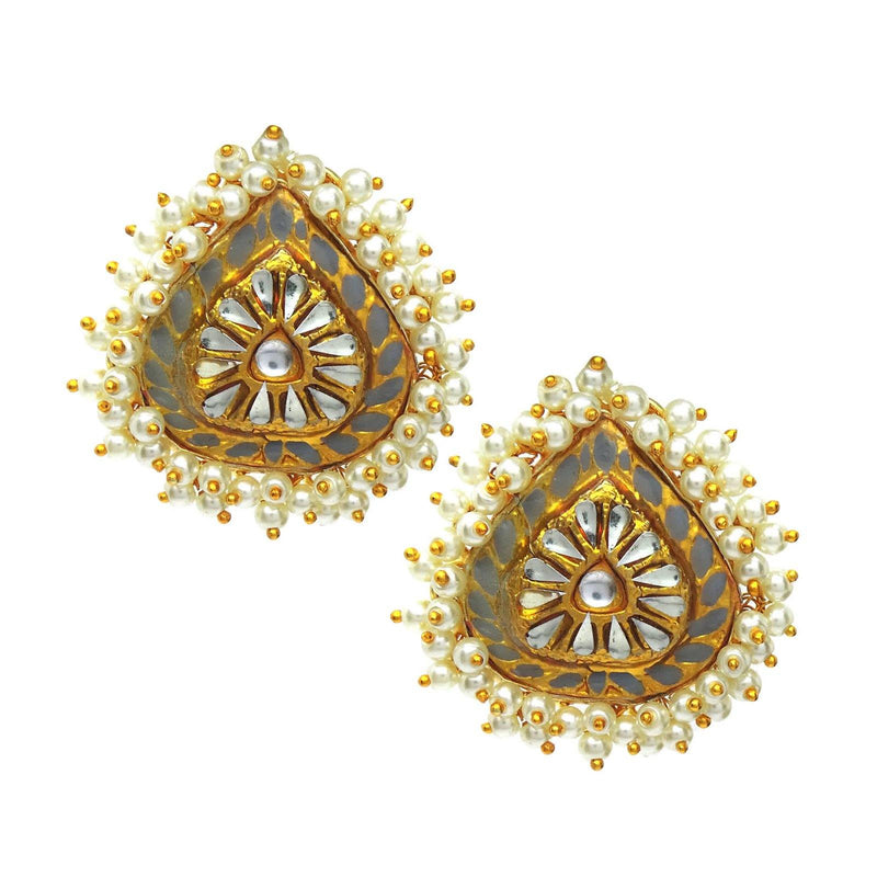 Kundan Drop Earrings in Slate | Handcrafted Jewellery | Dori