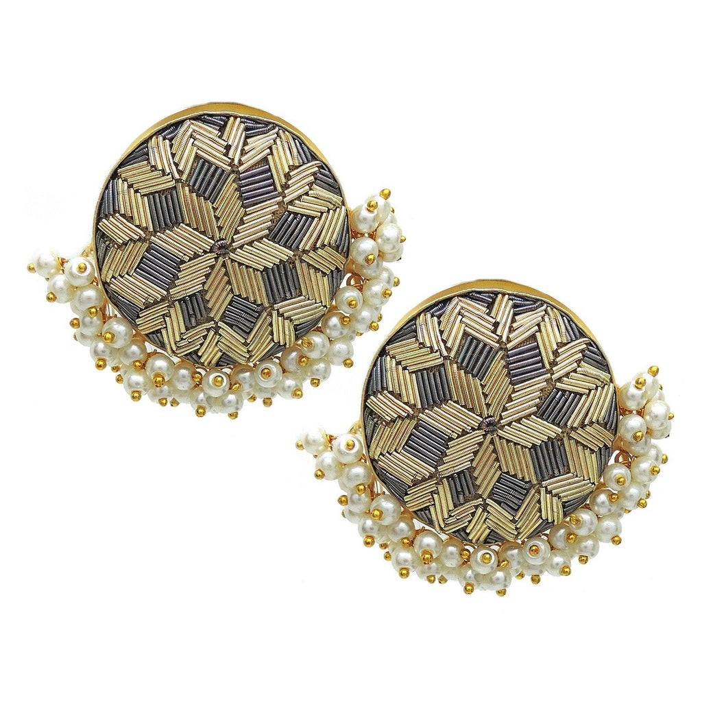 Zardosi Crown Earrings | Handcrafted Jewellery