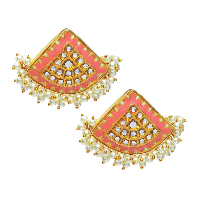 Disc Kundan Earrings in Coral | Handcrafted Jewellery | Dori