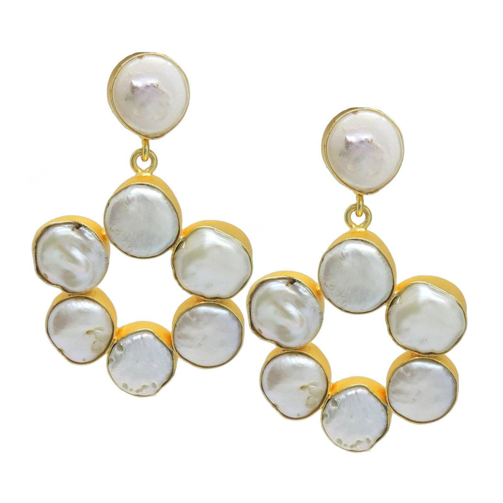Flora Pearl Circle Earrings | Handcrafted Jewellery | Dori