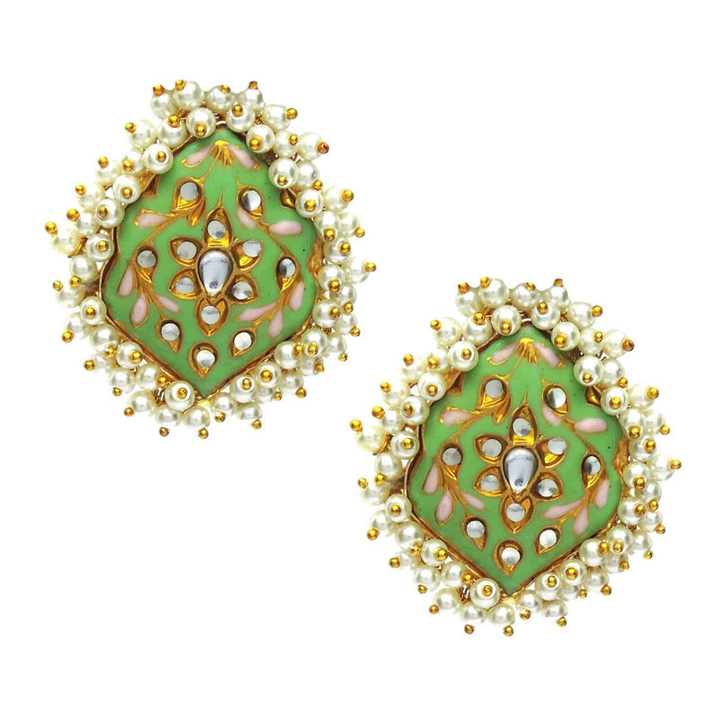 Moss Kundan Earrings | Handcrafted Jewellery | Dori