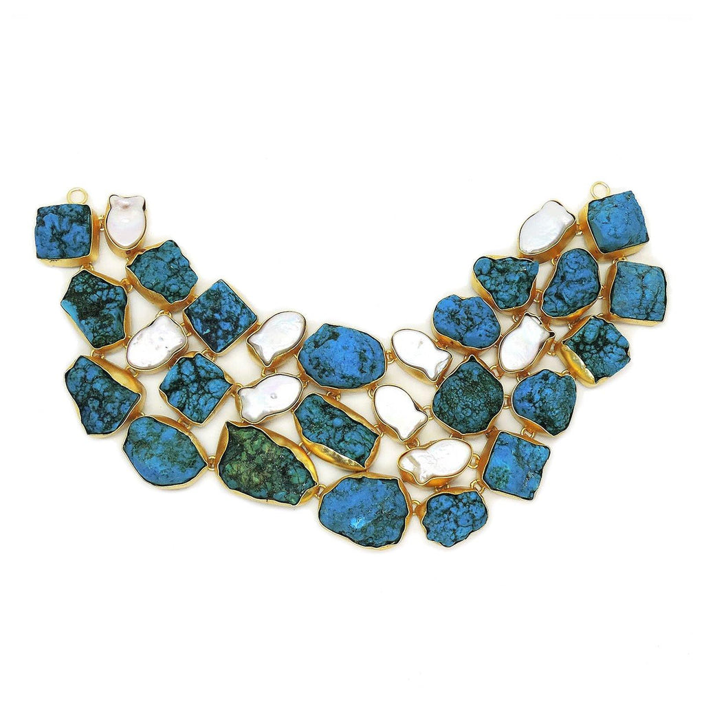 Statement Necklace in Turquoise & Pearl | Handcrafted Jewellery | Dori