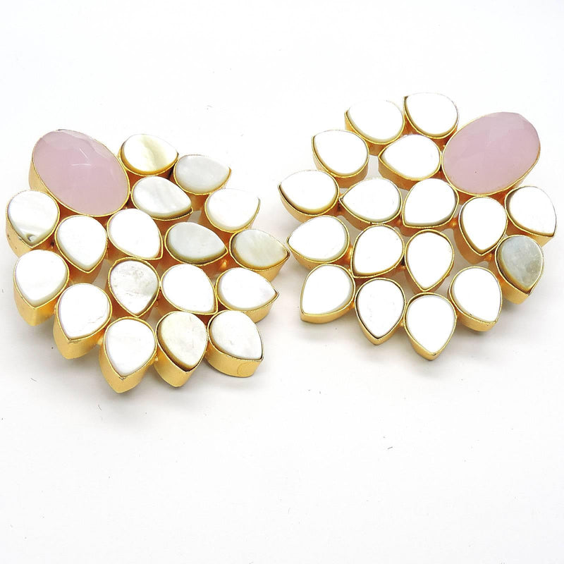 Rose Quartz Cluster Earrings | Handcrafted Jewellery | Dori
