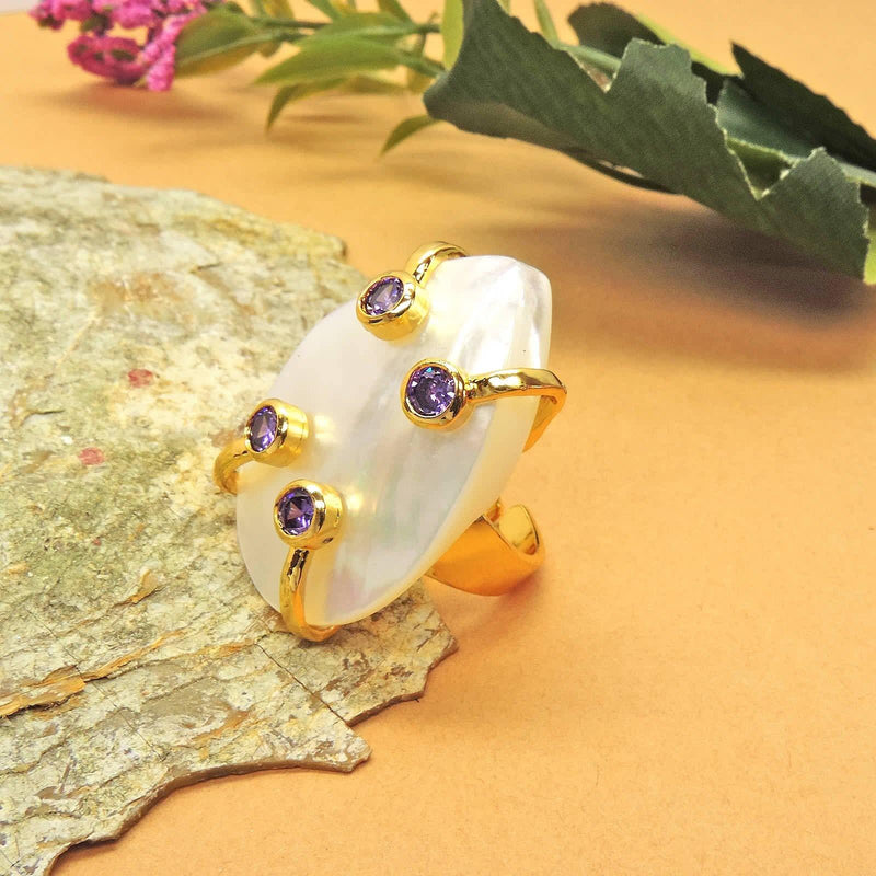 Pearl Shard Ring in Lilac | Handcrafted Jewellery | Dori