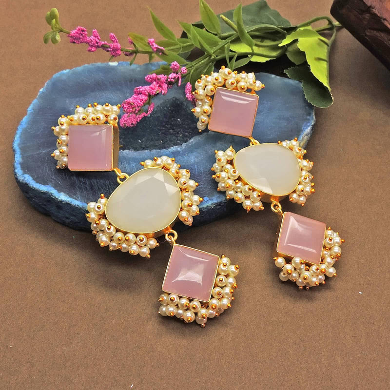 Dua Earrings in Rose Quartz - Earrings - Handcrafted Jewellery - Dori