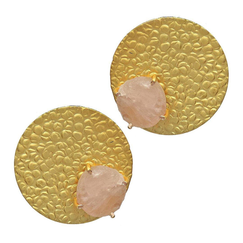 Rose Circle Studs - Earrings - Handcrafted Jewellery - Dori