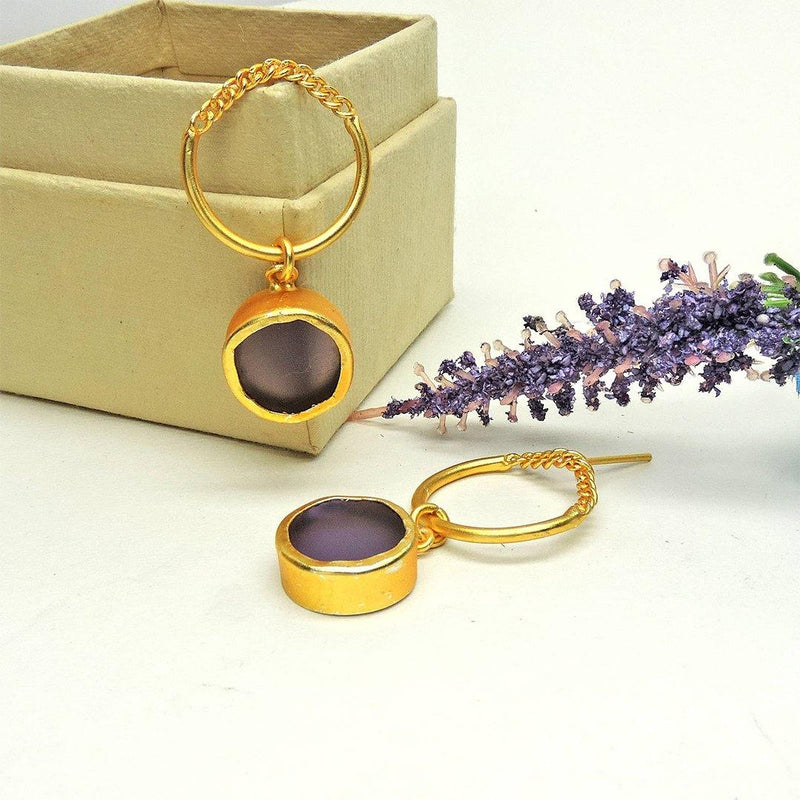 Amethyst Chain Hoops - Earrings - Handcrafted Jewellery - Dori