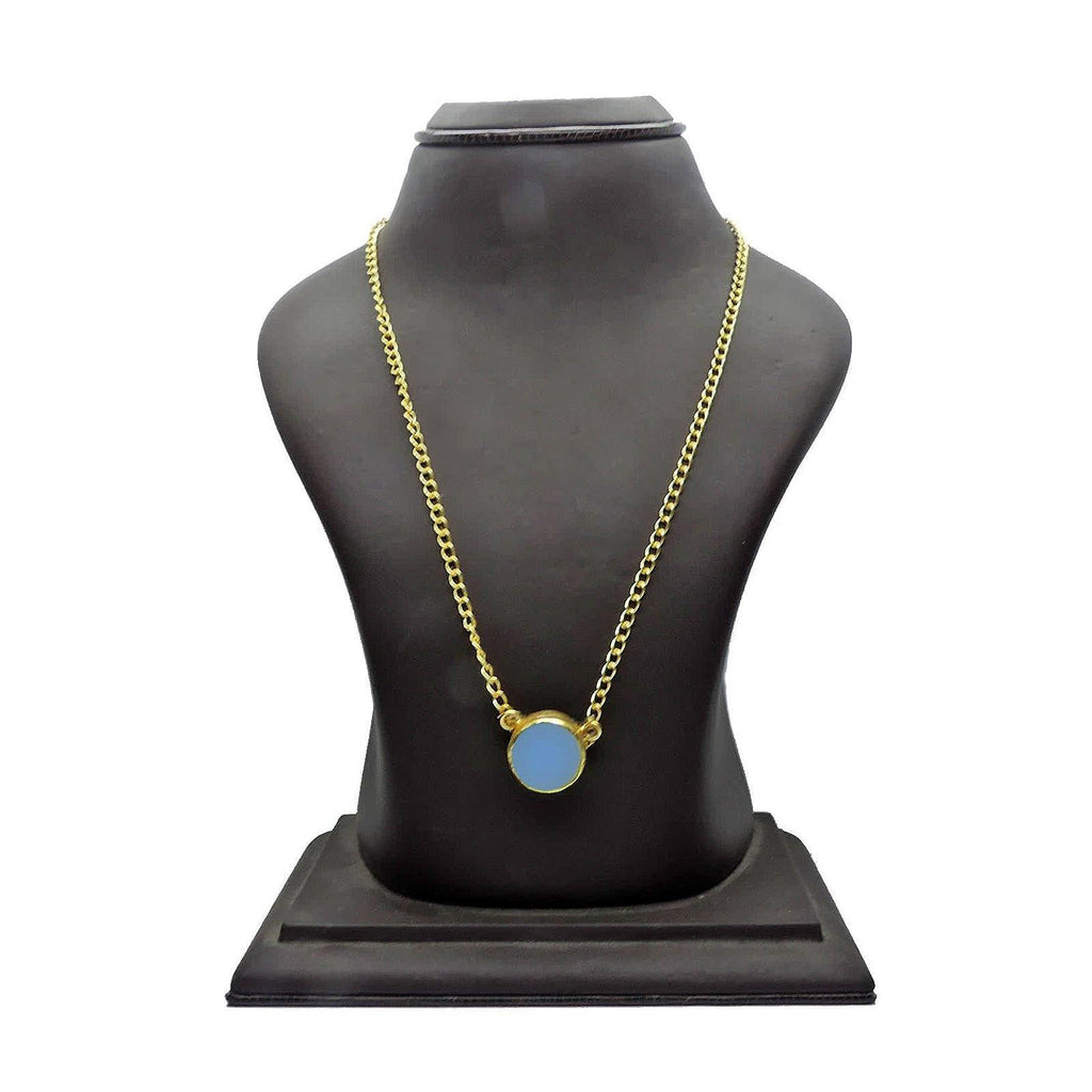 Classic Circle Pendant Necklace in Blue Onyx | Handcrafted Jewellery | Dori
