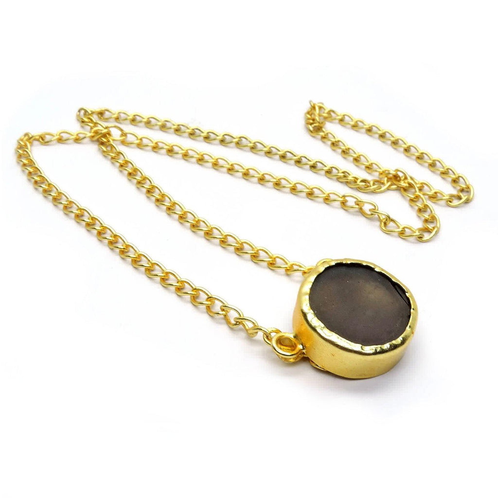 Classic Circle Pendant Necklace in Smoky Quartz | Handcrafted Jewellery | Dori