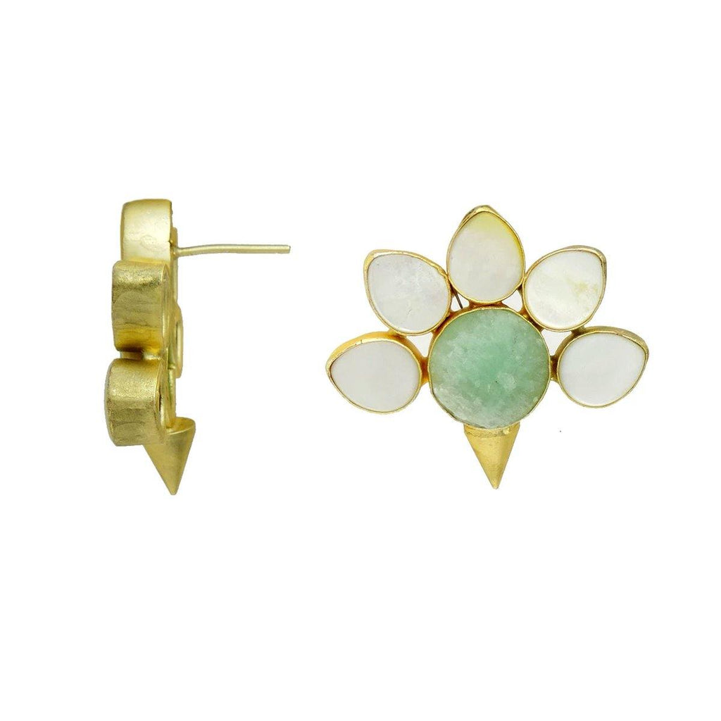 Amazonite & Pearl Flora Earrings | Handcrafted Jewellery | Dori