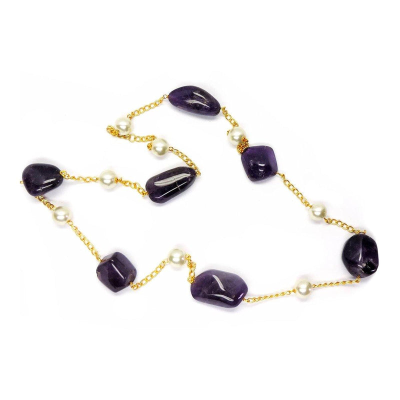 Classic Chain Necklace in Amethyst & Pearl | Handcrafted Jewellery | Dori