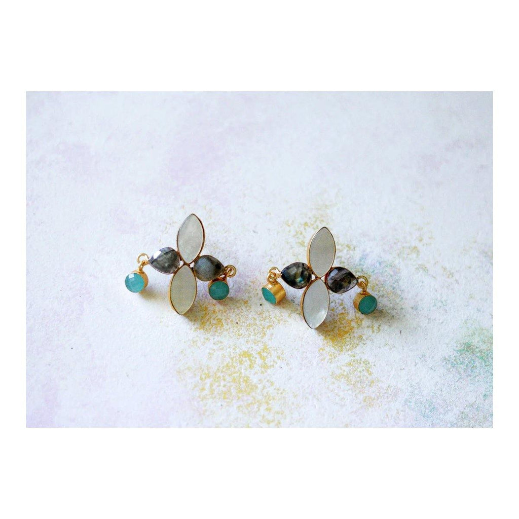 Bell Earrings in Aquamarine & Labradorite | Handcrafted Jewellery | Dori